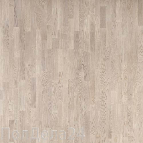 Паркетная доска PolarWood 3х-полосная Дуб Тундра Белый Матовый Лак